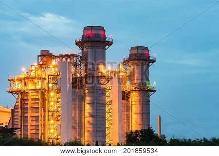 electrical power plant at dusk with blue sky modern thermal power plant at dusk