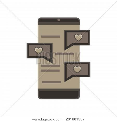 Phone chat message mobile vector text illustration messenger cellphone chatting isolated flat