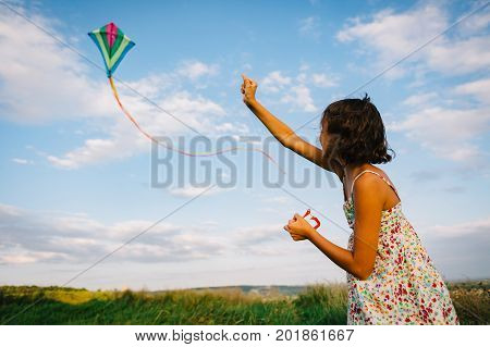 Side view of girl in dress standing in green field and playing with kite waving in wind.