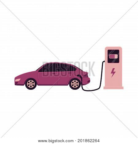 vector flat cartoon electric motor passenger car charging at the charger station. Isolated illustration on a white background. Green energy consuming vehicle plugged