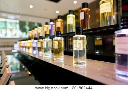 DOHA, QATAR - CIRCA MAY, 2017: perfumes on display at