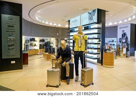 DOHA, QATAR - CIRCA MAY, 2017: a store at Hamad International Airport of Doha, the capital city of Qatar.