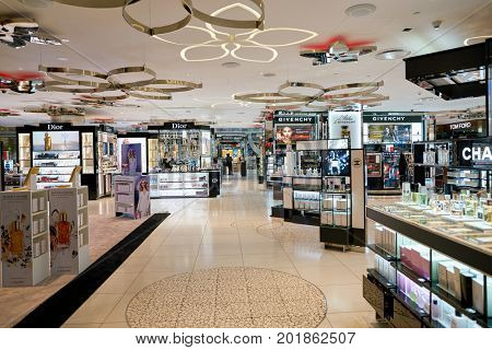 DOHA, QATAR - CIRCA MAY, 2017: goods on display at Hamad International Airport of Doha, the capital city of Qatar.
