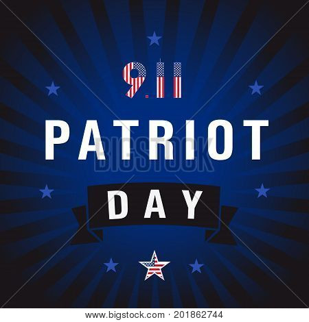 Patriot Day USA star blue stripes card.  9/11 Patriot Day background, American Flag on star shape and number 9-11 background. September 11, 2001 poster template vector illustration for Patriot Day