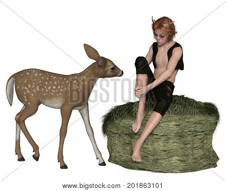 Fantasy illustration of a cute shy forest elf boy or faun with pointed ears and antlers sitting on a grassy rock talking to a young deer, digital illustration (3d rendering)