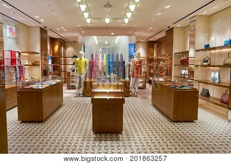 DOHA, QATAR - CIRCA MAY, 2017: inside Hermes store at Hamad International Airport of Doha.
