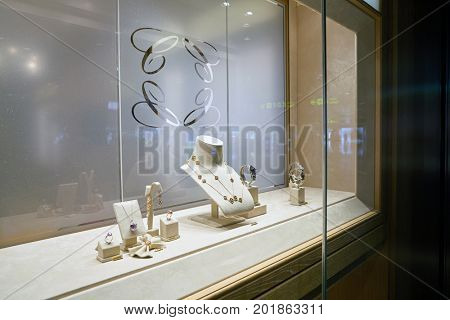 DOHA, QATAR - CIRCA MAY, 2017: a display window at Chopard store. Chopard is a Swiss watchmaker and jewellery maker.