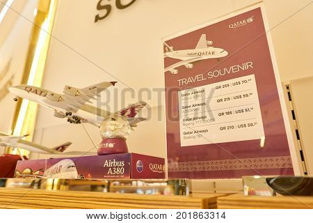 DOHA, QATAR - CIRCA MAY, 2017: aircraft model on display at Hamad International Airport of Doha, the capital city of Qatar.