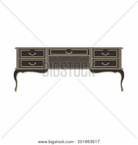 Wooden table isolated on white background. Vector illustration flat icon chines decor desk style modern