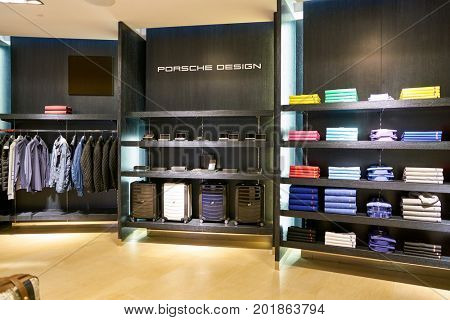 DOHA, QATAR - CIRCA MAY, 2017: Porsche Design Hamad International Airport of Doha, the capital city of Qatar.