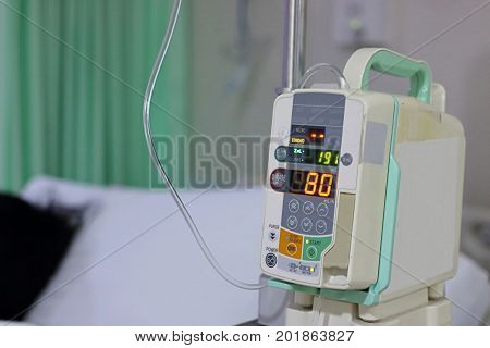 Infusion pump intravenous IV drip in the hospital