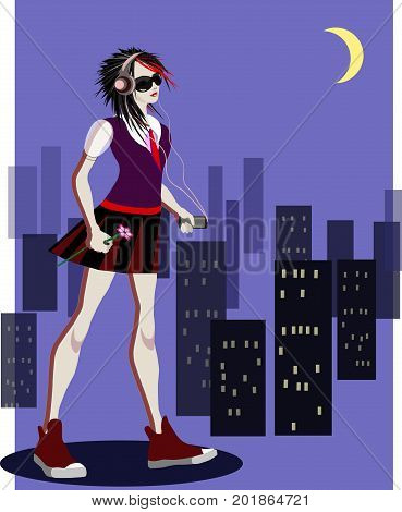 Romantic emo girl listening to music in dark city, vector illustration