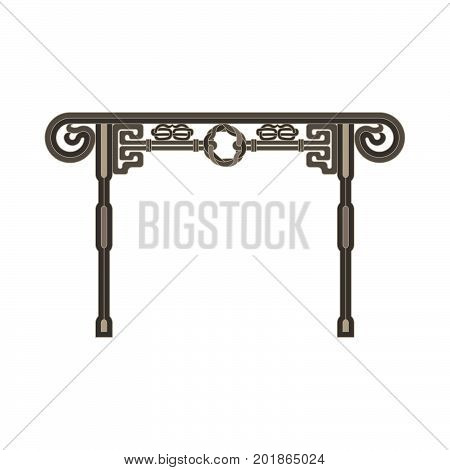 Vector gate flat icon isolated. Iron fence old illustration front view design. Antique design black decorative forged