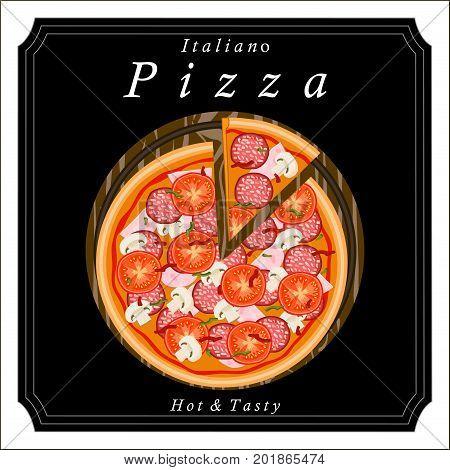 Vector logo illustration pizzeria menu, sliced triangle, whole hot pizza slice.