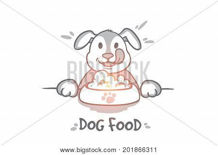 Dog food concept. Hand drawn hungry dog behind a big mound of food. Pet eating food isolated vector illustration.