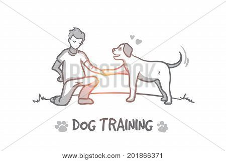 Dog training concept. Hand drawn outdoor dog training process. Instructor for animals isolated vector illustration.