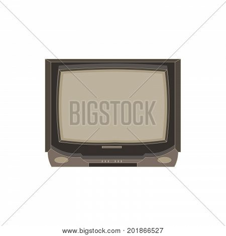 Vector retro tv flat icon isolated. Vintage television front view illustration. Electric display design