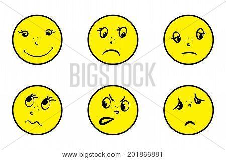 Set Smiles Crazy Emotions Isolated On White Background