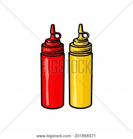 Blank, unlabelled fast food plastic bottles of ketchup and mustard, sketch style vector illustration on white background. Realistic hand drawing of plastic fast food plastic ketchup
