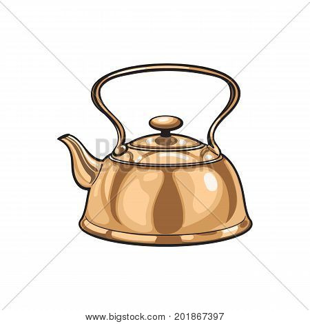 vector metal bronze kettle, teapot sketch cartoon isolated illustration on a white background. Kitchenware equipment utensil objects concept