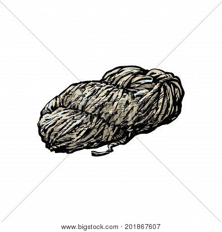 Hand spun twisted yarn of grey wool, farm product, sketch style vector illustration on white background. Realistic hand drawing of hand spun yarn of wool