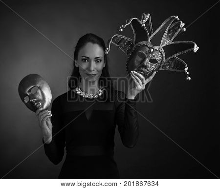 Woman With Carnival Masks