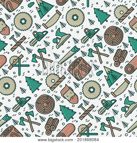 Logging and lumberjack with beard seamless pattern and related thin line icons: jack-plane, sawmill, forestry equipment, timber, lumber. Vector illustration for banner, web page, print media.