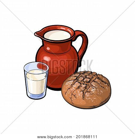 vector sketch cartoon glass of milk and ceramic pitcher jug, crock and loaf of round dark bread. Isolated illustration on a white background. Healthy food dairy products, natural dieting concept