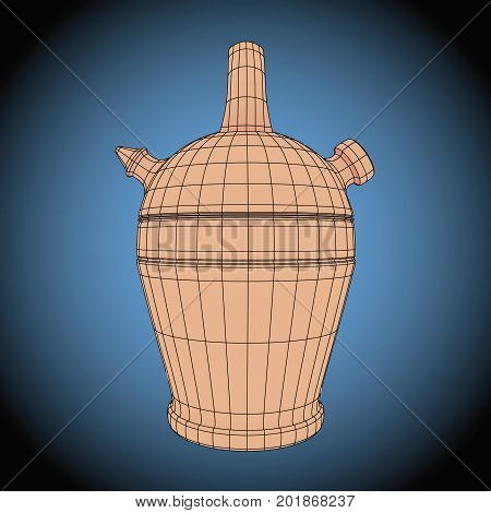 Botijo Or Bucaro Wireframe Typical Spanish Water Container