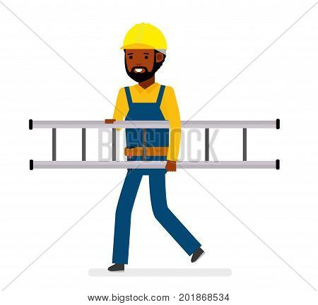 Construction worker with ladder. Isolated against white background. Vector illustration. African American people. Cartoon flat style.