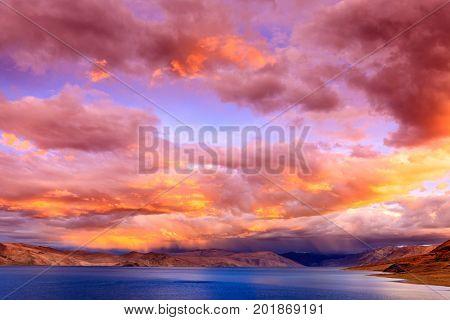 Sunset on lake Tso Moriri in the Himalayas, Kashmir, India