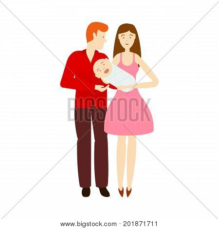 vector flat cartoon adult couple and infant baby. Isolated illustration on a white background. Flat family characters. Adult red-haired man, adult woman in blue dress and newborn baby
