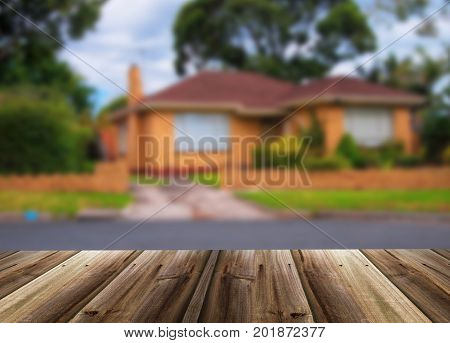 Closeup of blurred unfocused picture of house