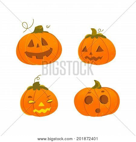 Set of cute, funny Halloween pumpkin jack-o-lanterns - smiling, surprised, scary, grinning, cartoon vector illustration isolated on white background. Set of cartoon Halloween pumpkin lanterns