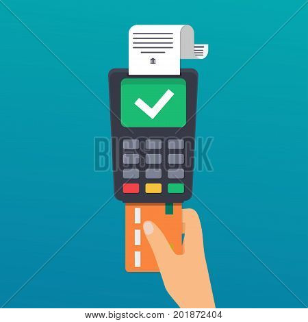 Payment. Hand holding credit card. Illustration of wireless payment by credit card. Flat design modern vector illustration concept.