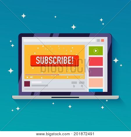 Subscribe button on a video channel. Idea for video streaming blogs. Flat design style modern vector illustration concept.