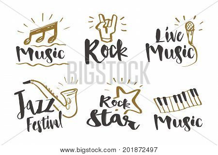 Hand drawn calligraphy Music rock jazz festival rock star live music and instruments icon or logo. Lettering illustration vector design.