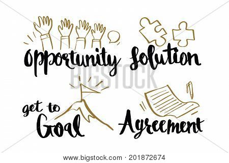 Hand drawn Caligraphy business concepts opportunity solution get to goal agreement Lettering calligraphy vector illustration.