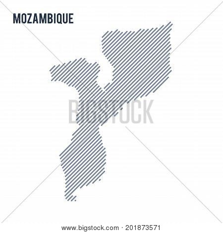 Vector Abstract Hatched Map Of Mozambique With Oblique Lines Isolated On A White Background.
