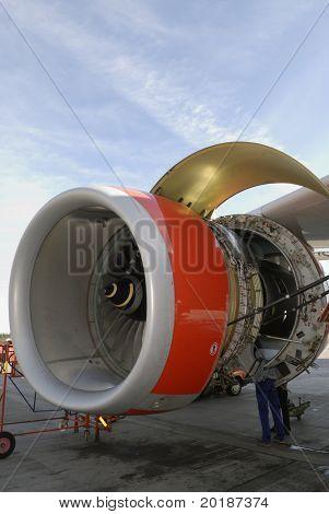 engineering maintenance of large jet engine, turbine