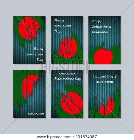Bangladesh Patriotic Cards For National Day. Expressive Brush Stroke In National Flag Colors On Dark