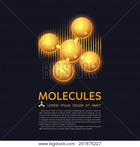 Abstract gold molecules design. EPS 10 vector illustration. Atoms. Medical background for banner or flyer. Molecular structure with glowing yellow spherical particles.