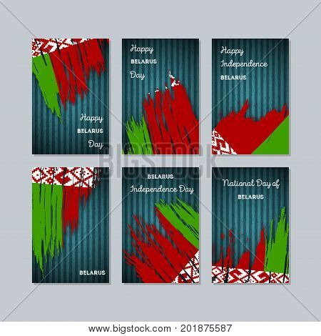 Belarus Patriotic Cards For National Day. Expressive Brush Stroke In National Flag Colors On Dark St