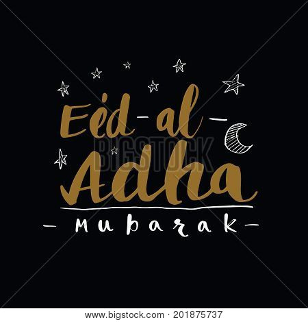 Muslim community festival of sacrifice Eid-Ul-Adha greeting card creative calligraphy illustration vector background.