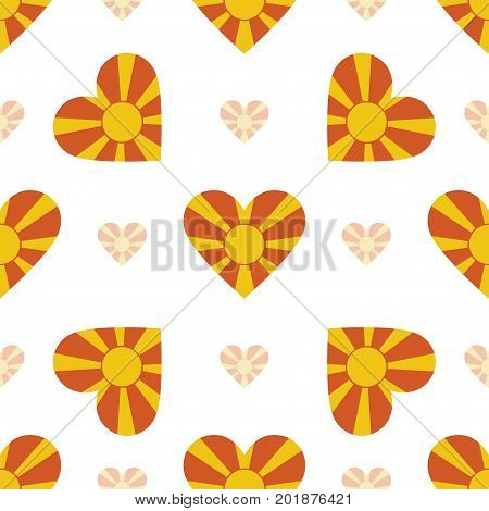 Macedonia, The Former Yugoslav Republic Of Flag Patriotic Seamless Pattern. National Flag In The Sha