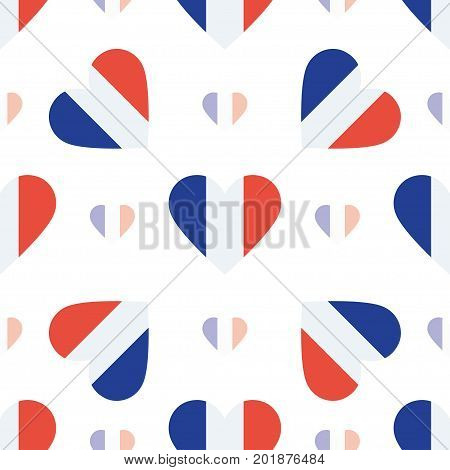 New Caledonia Flag Patriotic Seamless Pattern. National Flag In The Shape Of Heart. Vector Illustrat