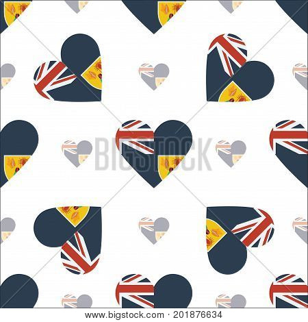 Turks and Caicos Islands flag patriotic seamless pattern. National flag in the shape of heart. Vector illustration. poster