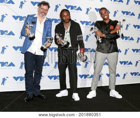 LOS ANGELES - AUG 27:  Dave Meyers, Kendrick Lamar, Dave Free at the MTV Video Music Awards 2017 at The Forum on August 27, 2017 in Inglewood, CA