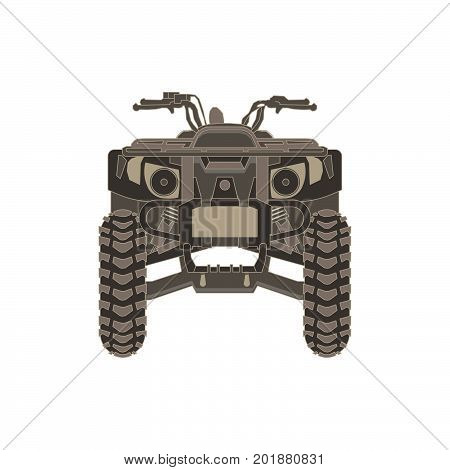 Vector ATV front view isolated icon off-road motorcycles sign on white background illustration. Extreme quad bike logo. Adventure black cross design dirt dirty dust drive emblem. Freedom inroad mud.