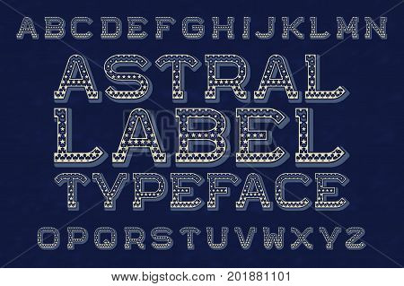 Astral label typeface font. Isolated english alphabet.